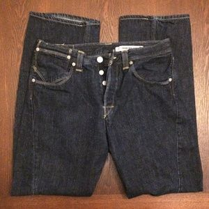 -Levi's Engineered twisted seam dark indigo jeans